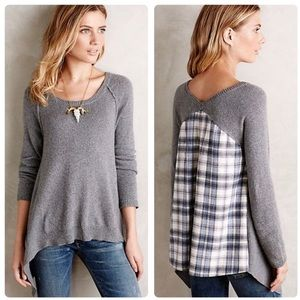 Anthropologie Moth Octubre Gray Plaid Sweater